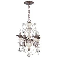 Crystorama Malibu 4 Light Convertible Pendant in English Bronze with Hand Cut Crystals 9254-EB