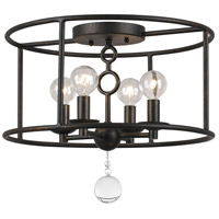 Crystorama Cameron 4 Light Semi-Flush Mount in English Bronze 9267-EB