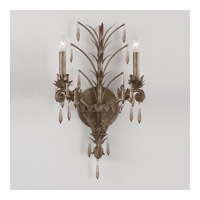 Crystorama Lighting Athena 2 Light Wall Sconce in Gilded Bronze & Antique Dusted Crystal 9322-GB