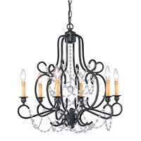 Crystorama Orleans 6 Light Chandelier in Black Iron with Hand Polished Crystals 9336-BK