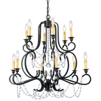 Crystorama Orleans 12 Light Chandelier in Black Iron with Hand Polished Crystals 9339-BK