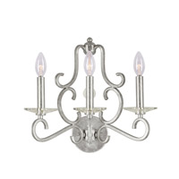 Crystorama Orleans 3 Light Wall Sconce in Olde Silver 9343-OS