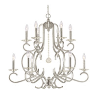 Crystorama Orleans 12 Light Chandelier in Olde Silver, Hand Cut 9349-OS