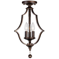 Parson 3 Light 11 inch English Bronze Semi Flush Mount Ceiling Light