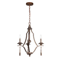 Crystorama Parson 3 Light Chandelier in English Bronze 9353-EB