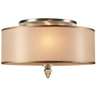 Luxo 3 Light 14 inch Antique Brass Flush Mount Ceiling Light in Antique Brass (AB)