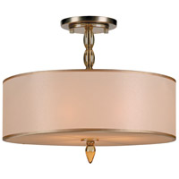 Crystorama Luxo 3 Light Semi-Flush Mount in Antique Brass 9505-AB