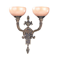 Crystorama Natural Alabaster 2 Light Wall Sconce in Bronze 952-BZ