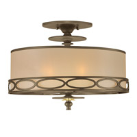 Crystorama Eclipse 3 Light Semi-Flush Mount in Antique Brass 9603-AB