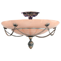 Signature 3 Light 16 inch Bronze Semi Flush Mount Ceiling Light in Bronze (BZ)