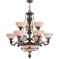 Crystorama Bravado Alabaster 12 Light Chandelier in Bronze 968-BZ