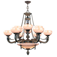 Crystorama Bravado Alabaster 15 Light Chandelier in Bronze 969-BZ