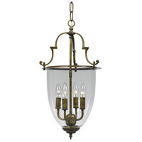 Crystorama 974-AU Signature 4 Light 13 inch Autumn Brass Hanging Lantern Ceiling Light