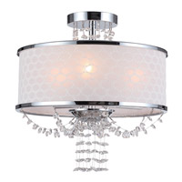 Allure 3 Light 14 inch Polished Chrome Semi Flush Mount Ceiling Light