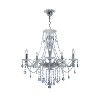 Simone 5 Light 27 inch Polished Chrome Chandelier Ceiling Light in Ice Blue (IB), Hand Cut, Polished Chrome (CH)