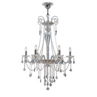 Crystorama Simone 6 Light Chandelier in Polished Chrome, Ice Blue, Hand Cut 9838-CH-IB