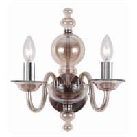 Crystorama Harper 2 Light Wall Sconce in Polished Chrome, Cognac 9842-CH-CG