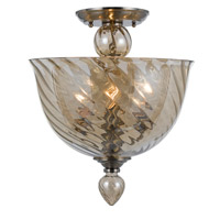 Crystorama Harper 3 Light Semi Flush Mount in Polished Chrome, Cognac 9843-CH-CG