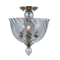 Harper 3 Light 14 inch Polished Chrome Semi Flush Mount Ceiling Light in Ice Blue (IB)