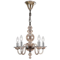 Crystorama Harper 5 Light Mini Chandelier in Polished Chrome, Cognac 9845-CH-CG