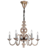 Crystorama Harper 6 Light Chandelier in Polished Chrome, Cognac 9846-CH-CG