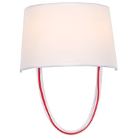 Crystorama 9902-RD-CL Stella 2 Light 10 inch Polished Chrome and Red Cord Wall Sconce Wall Light