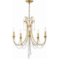 Crystorama ARC-1905-GA-CL-MWP Arcadia 5 Light 24 inch Antique Gold Chandelier Ceiling Light