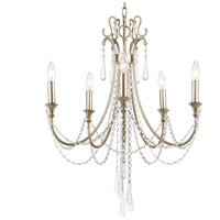 Crystorama ARC-1905-SA-CL-MWP Arcadia 5 Light 24 inch Antique Silver Chandelier Ceiling Light