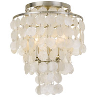 Brielle 3 Light 13 inch Antique Silver Flush Mount Ceiling Light