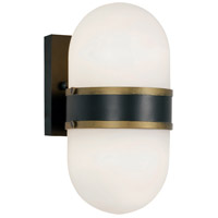 Crystorama CAP-8502-MK-TG Capsule 2 Light 11 inch Matte Black and Textured Gold Outdoor Wall Mount, Brian Patrick Flynn