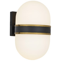 Capsule 2 Light 13 inch Matte Black and Textured Gold Outdoor Wall Mount