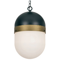 Capsule 3 Light 12 inch Matte Black and Textured Gold Outdoor Pendant, Brian Patrick Flynn