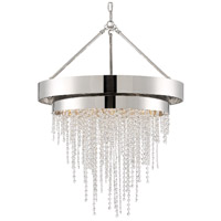 Crystorama CLA-A3206-PN-CL-MWP Clarksen 6 Light 26 inch Polished Nickel Chandelier Ceiling Light