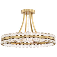 Clover 4 Light 18 inch Aged Brass Semi Flush Mount Ceiling Light in Aged Brass (AG)