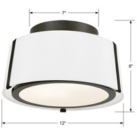 Crystorama FUL-903-BK Fulton 2 Light 12 inch Black Semi Flush Mount Ceiling Light in Black (BK) alternative photo thumbnail