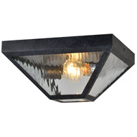 Crystorama GLA-9703-WT-BC Glacier 2 Light 12 inch Black Charcoal Outdoor Flush Mount in Water