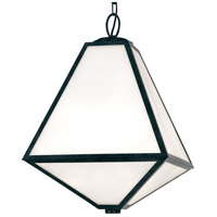 Glacier 3 Light 14 inch Black Charcoal Outdoor Chandelier in Opal Frosted