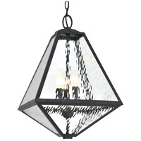 Crystorama GLA-9705-WT-BC Glacier 3 Light 14 inch Black Charcoal Outdoor Chandelier in Water