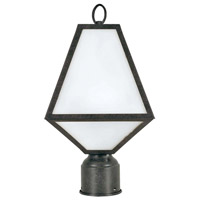 Glacier 1 Light 14 inch Black Charcoal Outdoor Lantern Post in Opal Frosted