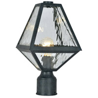 Crystorama GLA-9707-WT-BC Glacier 1 Light 14 inch Black Charcoal Outdoor Lantern Post in Water