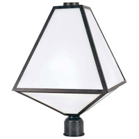 Glacier 3 Light 21 inch Black Charcoal Outdoor Lantern Post in Opal Frosted