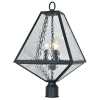 Glacier 3 Light 21 inch Black Charcoal Outdoor Lantern Post in Water