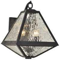 Crystorama GLA-9722-WT-BC Glacier 2 Light 17 inch Black Charcoal Outdoor Wall Mount in Water