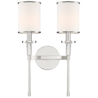 Crystorama HAT-472-PN Hatfield 2 Light 12 inch Polished Nickel Wall Sconce Wall Light in Polished Nickel (PN)