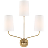 Crystorama LEI-203-AG Leigh 3 Light 16 inch Aged Brass Wall Sconce Wall Light in Aged Brass (AG)