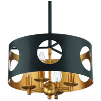 Crystorama ODE-700-BK-GA Odelle 4 Light 14 inch Black and Antique Gold Pendant Ceiling Light in Matte Black