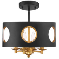 Crystorama ODE-700-BK-GA_CEILING Odelle 4 Light 14 inch Matte Black and Antique Gold Semi Flush Mount Ceiling Light