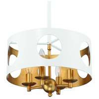 Crystorama ODE-700-MT-GA Odelle 4 Light 14 inch Matte White and Antique Gold Pendant Ceiling Light