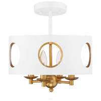 Crystorama ODE-700-MT-GA_CEILING Odelle 4 Light 14 inch Matte White and Antique Gold Semi Flush Mount Ceiling Light