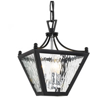 Park Hill 3 Light 9 inch Matte Black and Polished Chrome Lantern